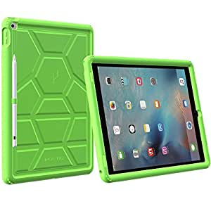 iPad Pro ケース Poetic [Turtle Skin シリーズ] アップル アイパッド プロ ケース 緑 グリーン 衝撃吸収 バンパー 音声拡大 放熱構造 スタイラスホルダー付き Apple iPad Pro 対応 (3年保証)