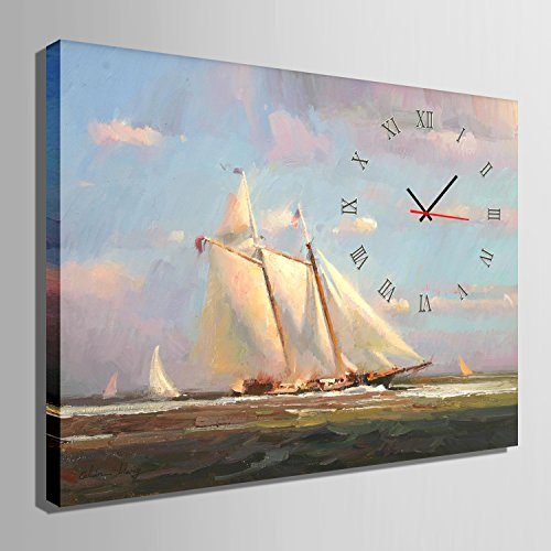TX芸術の個性化時計(白帆ボート)キャンバスに時計アート絵画転宅おめでとうござい結婚祝いの油絵の風景画の壁掛け電子時計-現代置時計時計(clock) (40CM*60CM)