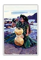 感謝します - イプーフラひょうたんドラムとハワイのフラダンサー - 写真の元の色からのものです によって作成された ロン・ラエス - アートポスター - 23cm x 31cm