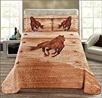 Fancy Collection 3pc Bedspread Bed Cover Western Texas Brown Beige Taupe Horses Stars cabin Lodge New Horse (King)