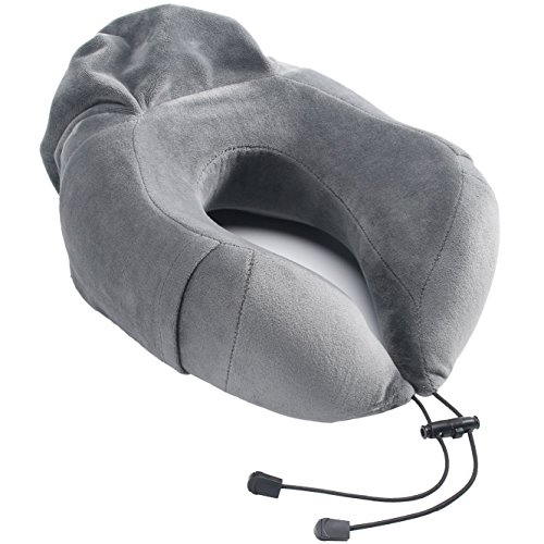 MUYI ネックピロー 旅行定番 低反発枕 持ち運びやすい 小物袋(大人向け)グレー