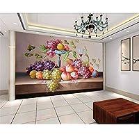Wuyyii 3D壁紙カスタムステッカー壁紙フルーツカラフルな油絵装飾壁画背景壁紙用キッズルーム-250X175Cm