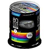 三菱化学メディア Verbatim 音楽用CD-R 80分 1回録音用 48倍速 スピンドルケース 100枚 インクジェットプリンタ対応(ホワイト) ワイド印刷エリア対応 MUR80FP100SV1