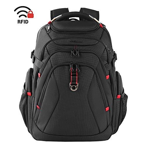 KROSER リュック17.3インチpcバッグ 旅行バックパック 登山バックパック大容量リュックサック パソコンバッグ コンピュータバッグ ラップトップバッグ USB充電ポート ヘッドフォンポート RFIDポケット/撥水/防水/旅行/ビジネス/通勤/通学/出張/営業/メンズ/レディース -ブラック