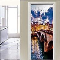 Wsqyf Pvc自己粘着3D取り外し可能なドアのステッカーイギリス運河橋Hdの壁紙リビングルームのドアの装飾デカール壁のステッカー77X200Cm