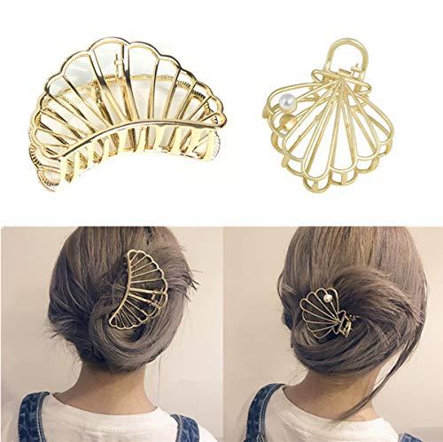 Kingsie 2個セット ヘアクリップ ヘアピン バレッタ シェル ゴールド 髪留め 髪飾り ヘアアクセサリー ギフト