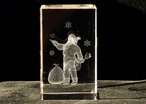 3D クリスタル レーザー アート サンタクロース ベル ペーパーウェイト 3D Crystal Glass Art
