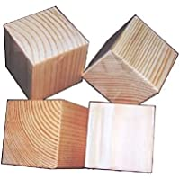 7cm Natural Unfinished Wood Blocks - Set of 4 (four) Wooden Cubes (Each Is 7cm Square)