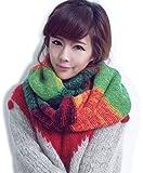 【LudusFelix】スヌード ネックウォーマー マフラー レディース 全3色【日本正規販売店】 (レッド×グリーン)