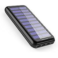 AkeemSolar モバイルバッテリー 22000mAh ソーラーチャージャー 超大容量 急速充電 【デュアル入力ポート / 3台同時充電】 太陽光で充電でき 災害時/旅行/アウトドアに大活躍 iPhone 、 iPad 、 スマホ 、 タブレット 、 ゲーム機 等対応 … (Balck)