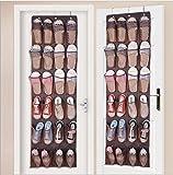 Wittimes 靴収納 便利ウォールポケット24ポケット【3色ブラウン/ブラック/ホワイト】 壁掛け式シューラック 靴下着小物収納 ウォールラック 壁掛け式シューラックフック付き (ブラウン)