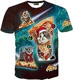 (ピゾフ)Pizoff メンズ 猫柄 Tシャツ ピザ柄 おもしろ カジュアル V系トップスY1625-34-XL