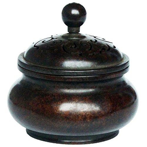 [해외]순수 구리 향로 투각 뚜껑 불구 공예품 향도 요가 향기로운 향 조상 풍수 개운 인테리어 (브라운) INB001/Pure copper incense burner watermark engraved lid Buddhist craft craft Kodo yoga fragrance ornament Feng Shui transport interior (br...