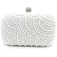 Kingluck Pearl Beaded with Pu Clutch Bag Popular Design Shining Pearl Lady Evening Bag (white)
