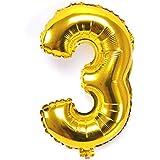 IPALMAY パーティー用品 風船 数字バルーン ゴールド パーティー 誕生日 結婚式 お祝い 飾り物 アルミバルーン  40インチ 超巨大 0-9 自由に組み合わせ (3)