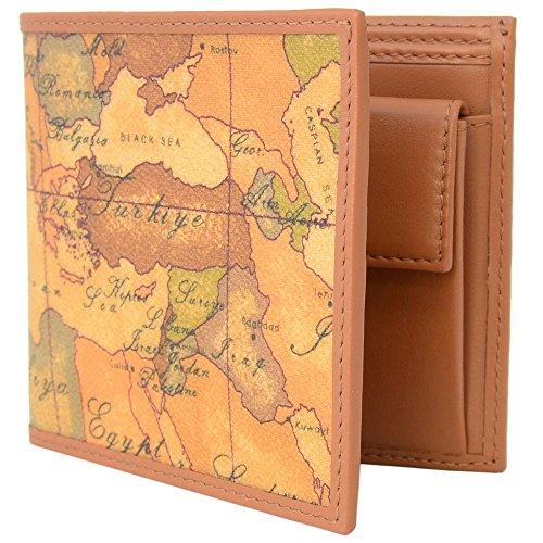 (プリマ・クラッセ)PRIMA CLASSE プリマクラッセ 財布 二つ折り財布 折りたたみ財布 小銭入れあり W103 6000 NATURAL Geo Classic 世界地図柄 マップ柄 ベージュ系 [並行輸入品]
