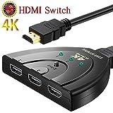 HDMI切替器 4Kx2K 分配器 HDMIセレクター スイッチ 3入力1出力 1080P 高解像度 3D映像 手動切替 ケーブル付き PS4/液晶テレビ/DVD Player/Xbox /AppleTV /PCなど対応
