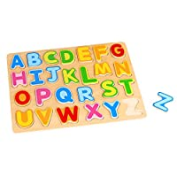 (Alphabet Chunky Puzzle) - Tooky Toy, 11.42 x 21cm x 1.5cm, Alphabet Puzzle, Wood
