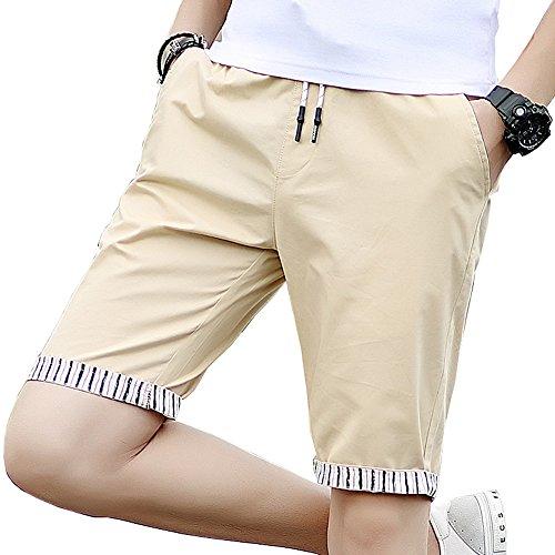 EIMEI メンズ ショートパンツ 夏服 夏物 イージーパンツ 短パン 5分丈 ハーフパンツ M~4XL (3XL, カーキ色)
