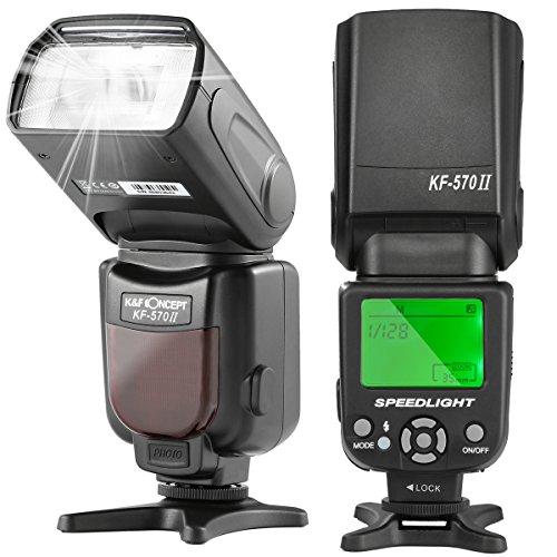 フラッシュ カメラ K&F Concept® LCD ディスプレイフラッシュ ストロボ スピードライト GN54 KF570II デジタル一眼レフカメラ用 Canon・Nikon兼用 Canon EOS Digital Rebel SL1 XT Xti Xsi T1i T2i T3i T4i T5i Nikon D5100 d5200 D5300 D3100 D3300など対応