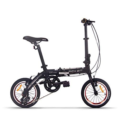 RICH BIT TOP026 軽量アルミフレーム 14インチ コンパクト折りたたみ自転車 本体重量8.5KG 四色 (ブラック)