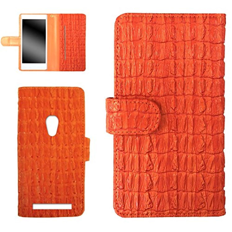 みなさんからに変化する傀儡WHITENUTS ZenFone5 501CG ケース 手帳型 ひだりきき ワニ柄 オレンジ TC-D0367323/L