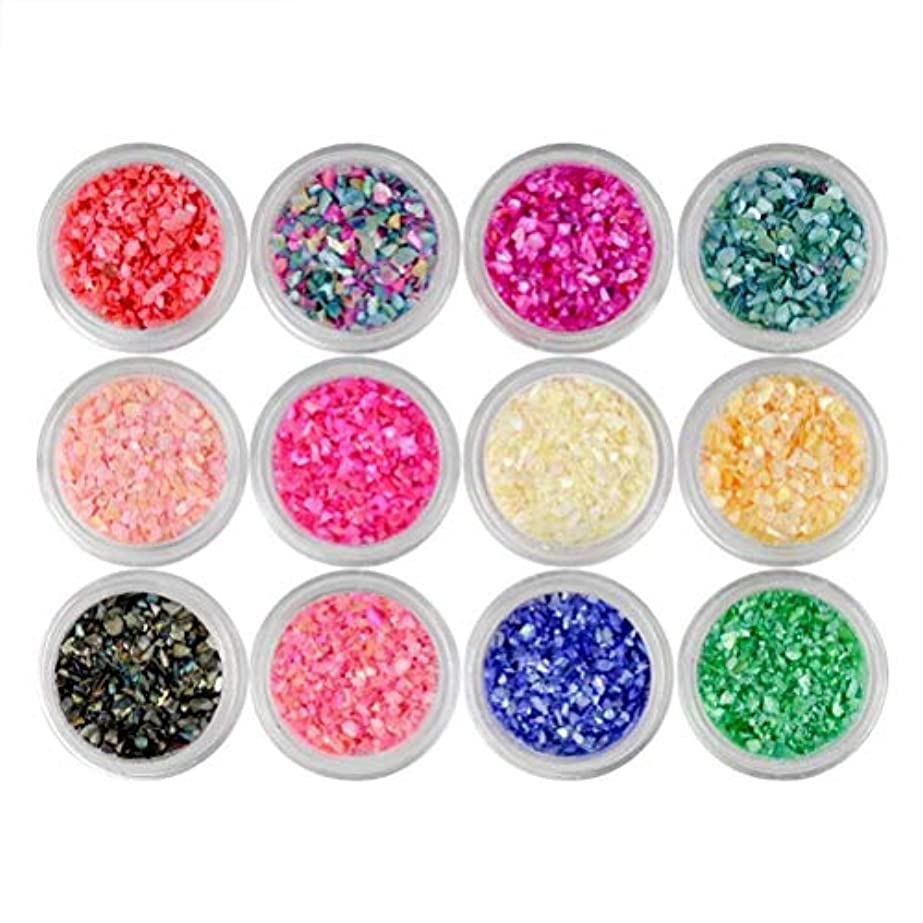 クリエイティブだらしないしゃがむLurrose 12ピースネイルアートスパンコールマニキュア虹色フレーク用女性女の子レディ(混合色)