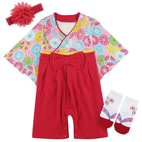 BECOS 赤ちゃん 女の子 着物 和装 ベビー用 ロンパー...