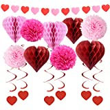 結婚式飾り付け 赤い ピンク ハートガーランドハニカムボール吊り下げ渦巻き ペーパーフラワーボール ウェディング バレンタイン 披露宴、記念日パーティー飾り 16枚セット