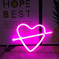 Neon Light,LED Cupid's Bow Sign Shaped Decor Light,Heart Night Lamps Love Marquee Letter Sign Gifts for Christmas,Birthday party,Kids Room,Living Room,Wedding Party(Pink)