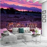 Mingld キャンバス絵画日没シマウマ伝統的な壁紙壁写真アートプリントポスターリビングルームの家の装飾-250X175Cm