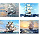 DIY 5D Diamond Painting, Crystal Rhinestone Embroidery Pictures Art Craft for Home Wall Decor by Sailboat