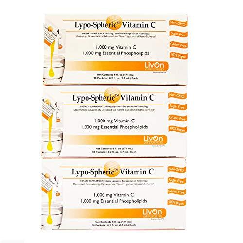 【正規販売代理店品】[3箱セット]リポスフェリックビタミンC(1,000mg×30包入) リポソームビタミンCサプリメント[Lypo-Spheric Vitamin C (1,000mg×30 Packs) Liposormal Vitamin C