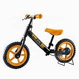 OSJ 子供用自転車 バランスバイク 12インチ ペダルなし ブレーキ付き 女の子男の子 四色対応 (ブラック&オレンジ)