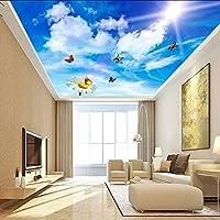 Lixiaoer カスタム3D写真の壁紙青空白い雲蝶花のリビングルームの寝室の天井壁画壁紙家の装飾-350X250Cm
