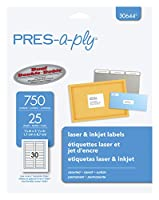 Avery PRES-a-ply File Folder Labels, 1.7cm x 8.7cm, Assorted Colours, Pack of 750 Labels