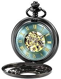 BesTn出品 懐中時計 手巻 スケルトン 男女 アンティーク チェン付き やや大きい ローマ数字 スチームパンク ブラック