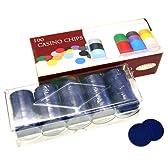 【本格カジノチップ、ポーカーチップ販売】100枚組 カジノチップ無地 ブルー