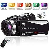 ビデオカメラ カムコーダー フルHD 1080P 30FPS 24.0 MP リモコン 赤外線ナイトビジョン 夜間撮影 低速度撮影 動作探知 ポータブル 小型3.0インチIPS画面LCDビデオブログ 270°回転リモコン付き バッテリー*2