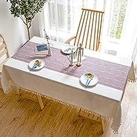 長方形のテーブルクロス、なめらかなミニマリストスタイルのチェック柄、コットンとリネン生地、ホームレストランのテーブルデコレーション,B,140*200CM