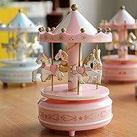 9月DIY merry-go-round DIY木製Housesドールハウスwith IngeniousベースとロータリーPony誕生日ウェディングギフト{ in kindピンク}