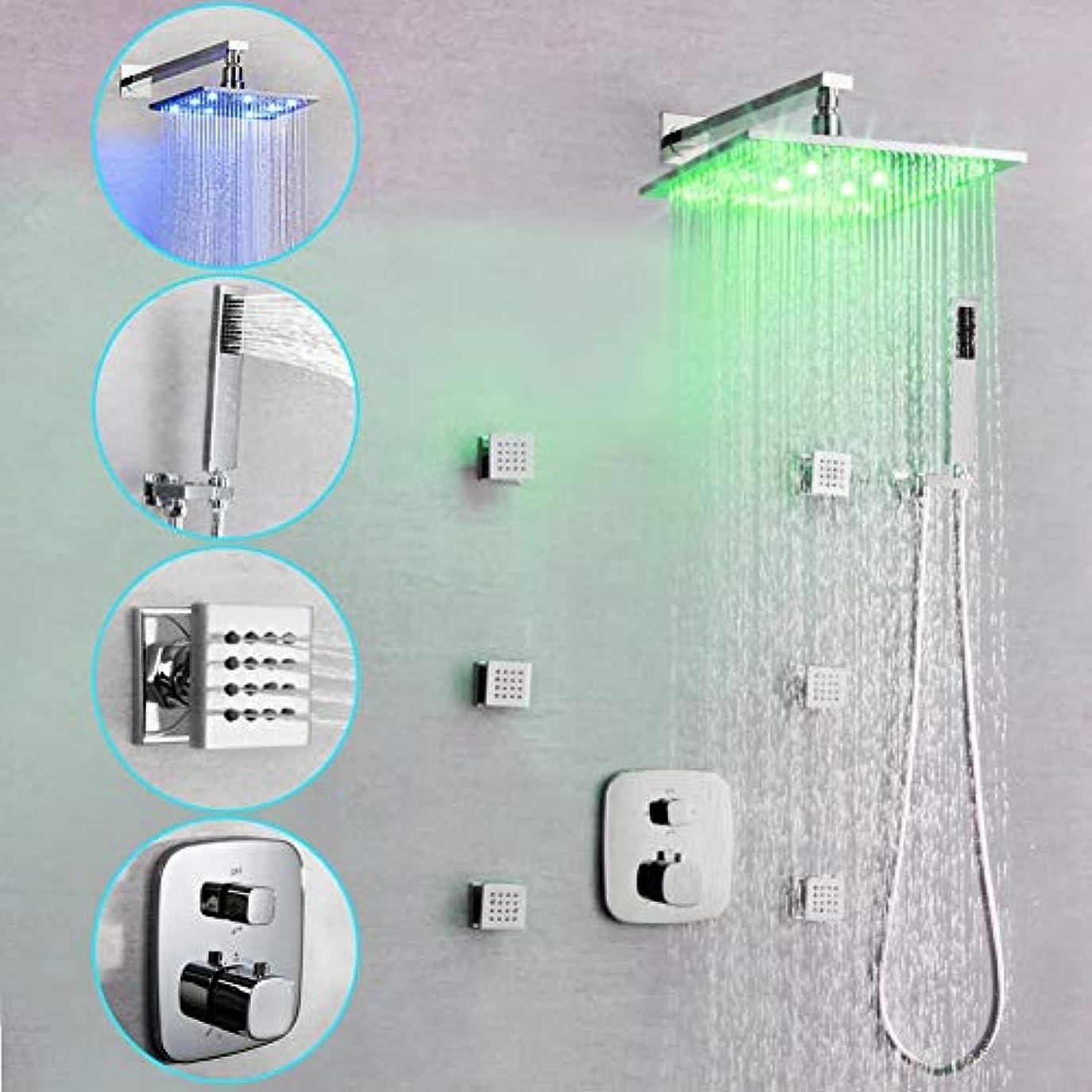 異なる素朴な始めるLEDシャワーシステム、シャワー蛇口 - シャワー蛇口 - 現代LEDクロームウォールマウントボディマッサージジェットシャワーミキサータップ回転スパウト (サイズ : 30x30cm)