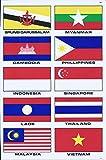 (シャシャン)XIAXIN 防水 PVC製 アセアン 国旗 ステッカー セット 東南アジア諸国連合 ナショナル フラッグ 屋内外 兼用 TS-119