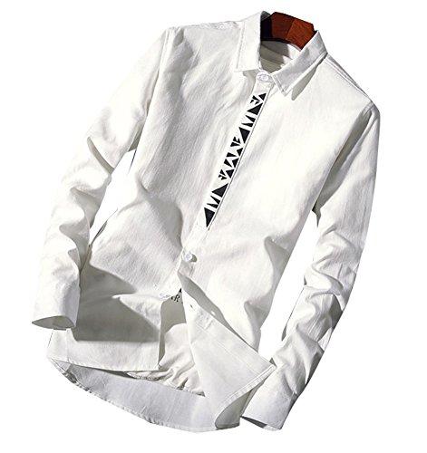 (ホワイトデー )WhiteDAY 無地 長袖シャツ メンズ トップス スリム スタイル 秋 冬 長袖 シンプル 無地 涼やか 長袖 デザイン 柄 無地 ビジネス デザイナーズ 爽やか 快適 メンズ 選べる6色 L XL XXL (ホワイト (XXL))
