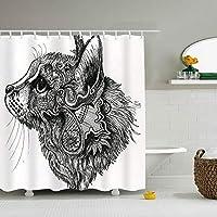 猫柄シャワーカーテン 防水 防カビ 加工 浴室 カーテン 風呂カーテン 防水 間仕切り 遮像 リング付属 厚手 取り付け簡単