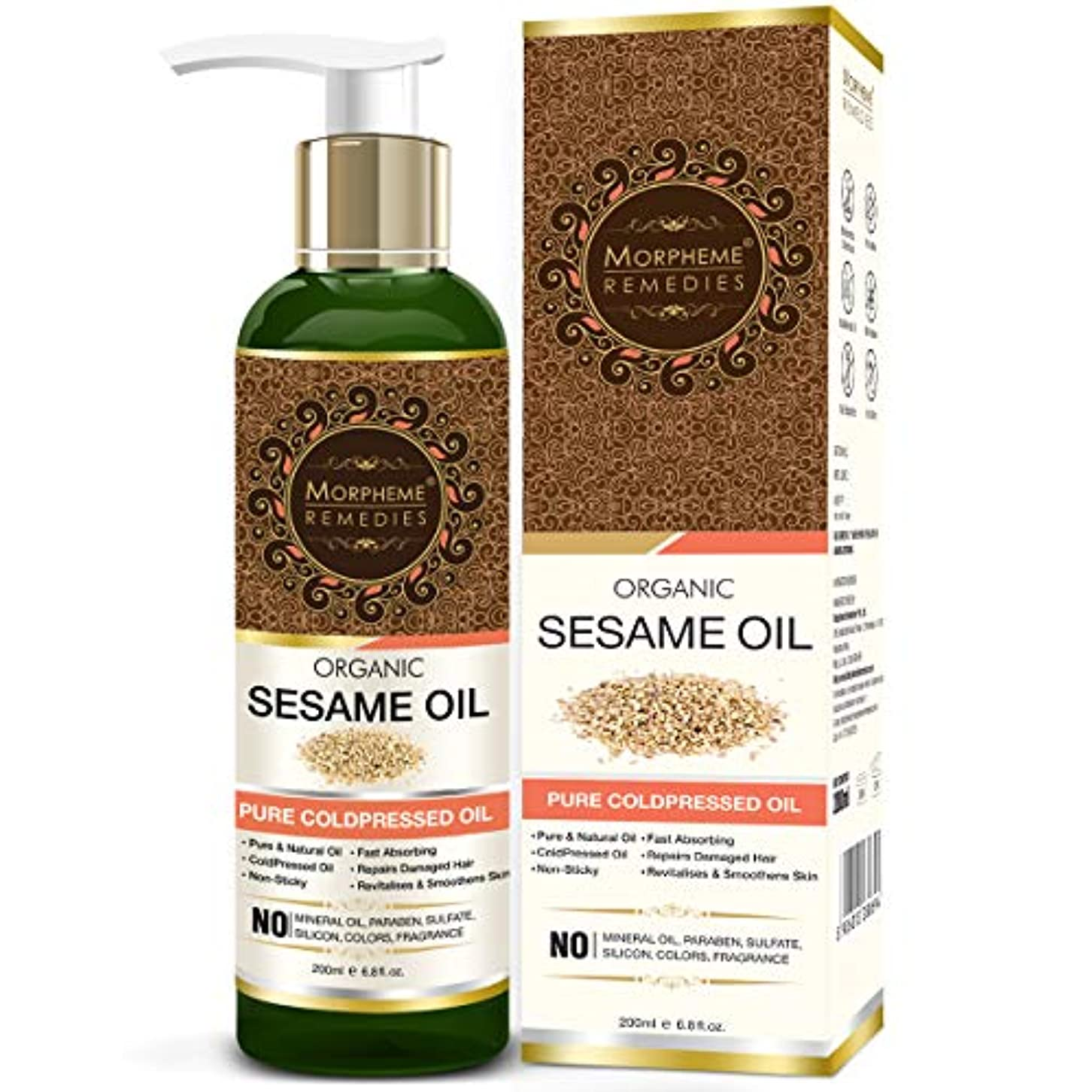 叫び声ぎこちないキャンペーンMorpheme Remedies Organic Sesame Oil (Pure ColdPressed Oil) For Hair, Body, Skin Care, Massage, 200 ml