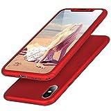 Imikoko iPhone X ケース 全面保護 強化ガラスフィルム 360度フルカバー 衝撃防止 アイフォンXケース おしゃれ 高級感 薄型 携帯カバー レッド (iPhone X, レッド)