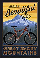 Great Smoky Mountains - Life is a Beautiful Ride - マウンテンバイク。 24 x 36 Framed Giclee (Black) LANT-3P-FP-BLK-91164-24x36