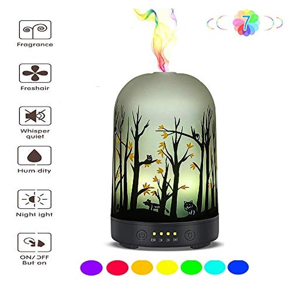 アロング発表取り扱いエッセンシャルオイルディフューザー - ガラスアロマ超音波加湿器 - 7色変化LED、無水自動消灯、タイマー設定、BPAなし(100mlアラジン)