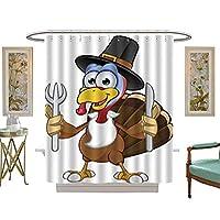 Iuvolux シャワーカーテン 感謝祭 七面鳥 ナイフ&フォーク ビーズリング付き W66 x H223 Inch